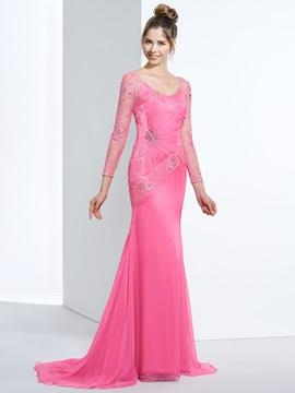 V-Neck Long Sleeves Beading Lace Evening Dress