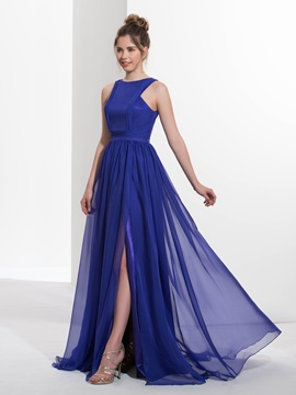 Casual Straps Pleats Split-Front Long Prom Dress