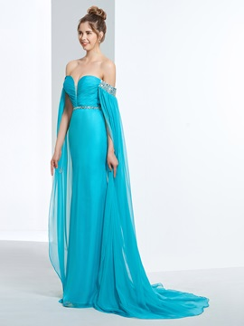 Off the Shoulder Sequins Beading Watteau Train Prom Dress