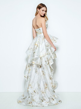 Fancy Sweetheart Ruffles High Low Print Homecoming Dress