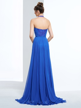 Halter A-Line Column Lace Prom Dress