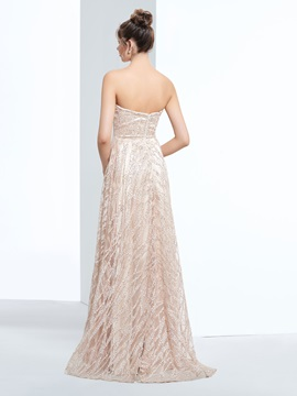Strapless A-Line Sequins Asymmetrical Prom Dress