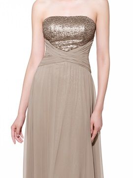 Empire Waist Strapless Sequins Long Evening Dress