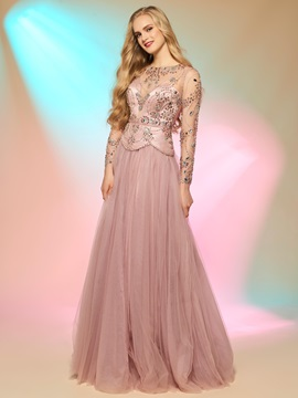 Attactive Long Sleeves Beading Button Back Prom Dress
