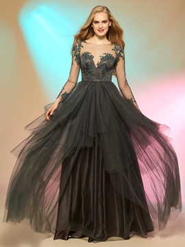Elegant Long Sleeves Scoop A-Line Appliques Button Floor-Length Prom Dress