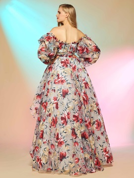 A-Line Off-the-Shoulder Printed Asymmetry Prom Dress