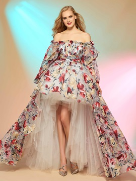 Unique A-Line Off-the-Shoulder Long Sleeves Printed Asymmetry Prom Dress