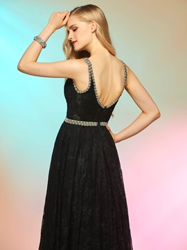 Concise A-Line V-Neck Beading Lace Floor-Length Prom Dress