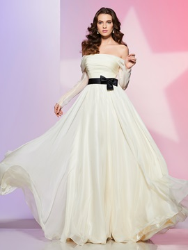 Charming A-Line Off-the-Shoulder Long Sleeves Bowknot Ruched Sashes Prom Dress
