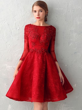 Pretty A-Line Bateau 3/4 Length Sleeves Appliques Beading Lace Pearls Prom Dress