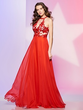 A-Line Halter Appliques Beading Long Prom Dress