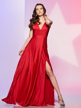 Simple A-Line V-Neck Split-Front Ruched Floor-Length Prom Dress