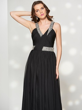 Concise A-Line V-Neck Pleats Beaded Sweep Train Prom Dress