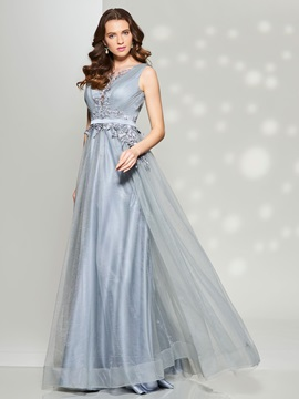 Pretty A-Line Scoop Appliques Sashes Long Prom Dress