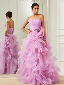 Charming Strapless Ball Gown Ruffles Floor-Length Prom Dress