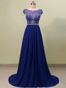 Gorgeous A-Line Scoop Cap Sleeves Beading Crystal Court Train Evening Dress