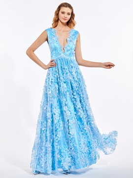 A-Line V-Neck Lace Flowers Pearls Prom Dress