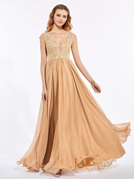 Exquisite A-Line V-Neck Cap Sleeves Appliques Floor-Length Prom Dress