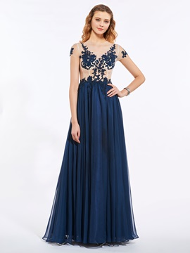 Fancy Short Sleeves Jewel Neck A-Line Appliques Button Floor-Length Prom Dress