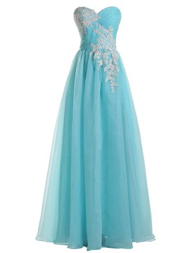Concise A-Line Sweetheart Appliques Beading Pleats Prom Dress