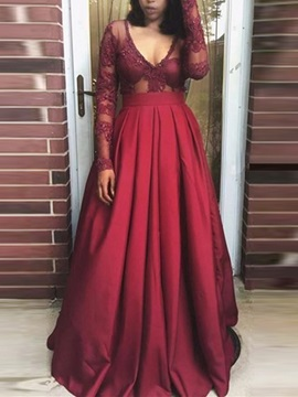 Attractive A-Line Appliques V-Neck Beading Pleats Long Sleeves Prom Dress