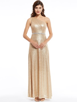 One Shoulder Sequins A Line Evening Dress
