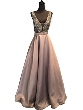 Unique A-Line Beaded Sleeveless V-Neck Floor-Length Prom Dress