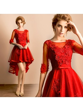 A-Line Scoop Beading Lace Homecoming Dress