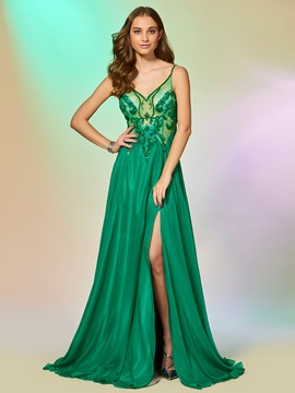 Attractive Spaghetti Straps Beading Lace Split-Front Backless Prom Dress