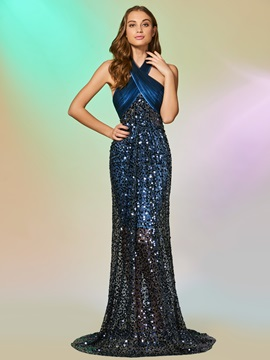 Halter Lace Sequins Mermaid Sweep Train Prom Dress