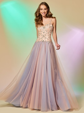 Gorgeous Spaghetti Straps Beaded Sleevelss Floor-Length Prom Dress