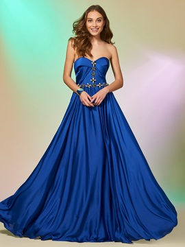 A-Line Sweetheart Beaded Sweetheart Prom Dress
