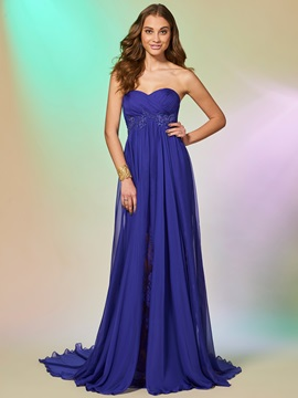 Concise Sweetheart A-Line Appliques Lace Split-Front Court Train Prom Dress