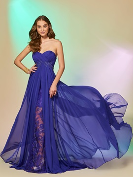 Sweetheart A-Line Appliques Split-Front Prom Dress