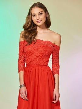 Simple A-Line Half Sleeves Lace Off-the-Shoulder Floor-Length Prom Dress