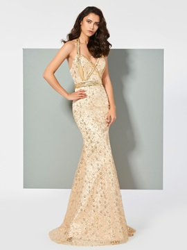Gorgeous Halter Trumpet Sleeveless Lace Sequins Brush Train Prom Dress