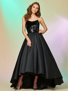 Simple Strapless Bowknot Sequins Asymmetry Prom Dress