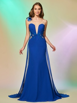 Elegant Scoop Trumpet Sleeveless Bowknot Sequins Sweep Train Evening Dress