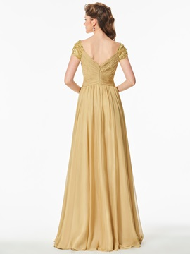 A-Line V-Neck Beaded Ruched Prom Dress