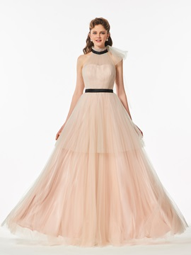 Lovely A-Line Jewel Tiered Sashes Floor-Length Prom Dress