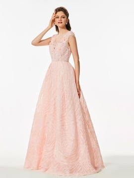 A-Line Appliques Button Lace Flowers Prom Dress