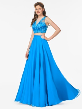 Two Pieces A-Line Button Lace Scoop Prom Dress