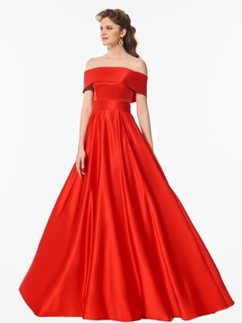 Fancy Bowknot A-Line Off-the-Shoulder Red Prom Dress