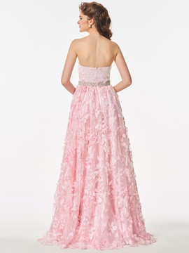 Nice Lace Strapless A-Line Beading Floor-Length Prom Dress