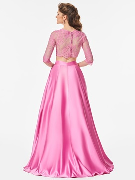 Button Lace Scalloped-Edge A-Line Prom Dress
