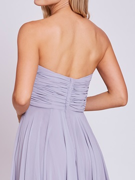 Strapless Pleats A Line Prom Dress
