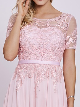 Scoop Neck Short Sleeves Sashes Appliques A Line Prom Dress