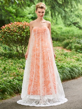 Elegant A-Line Sweetheart Lace Sweep Train Prom Dress