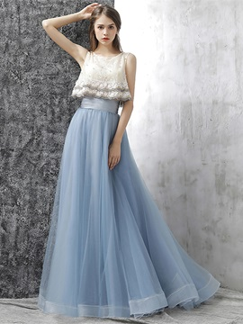 A-Line Flowers Lace Pearls Pleats Scoop Prom Dress