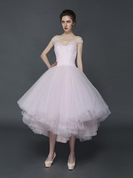 Attractive A-Line Off-the-Shoulder Beading Pleats Asymmetry Prom Dress